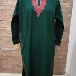 Dark Green Pure Raffal Pheran in Sozni Hand Embroidery