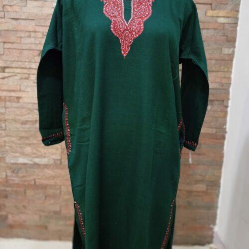 Dark Green Pure Raffal Pheran in Sozni Hand Embroidery