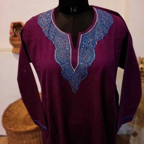 Purple Pure Raffal Pheran in beautiful Sozni Hand Embroidery