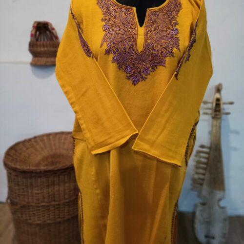 Mustard Pure Raffal Pheran in Sozni Hand Embroidery