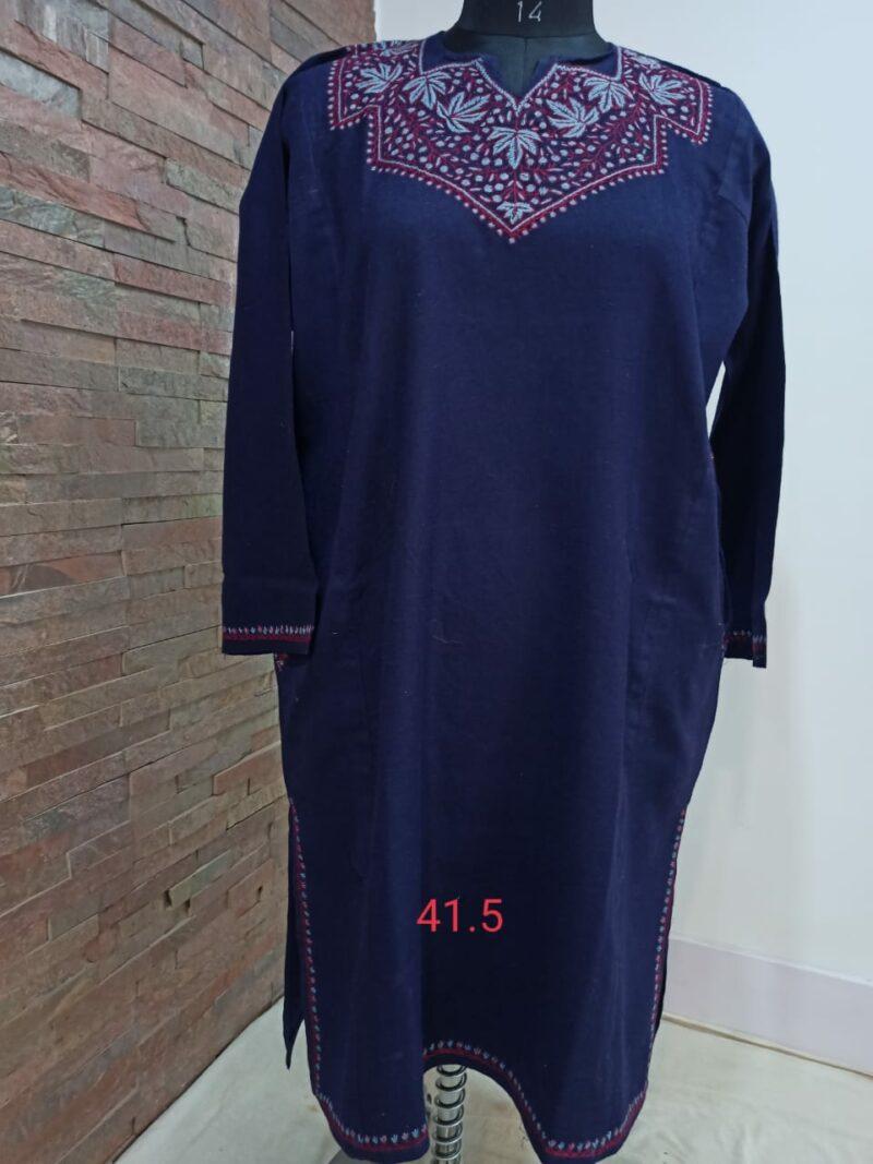 Navy Blue Pure Raffal Pheran in Sozni Hand Embroidery