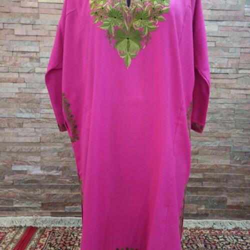 Pink Pure Raffal Pheran with Ari Hand Embroidery