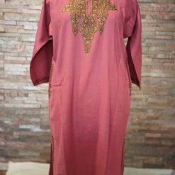 Pink Pure Raffal Pheran in Sozni Hand Embroidery
