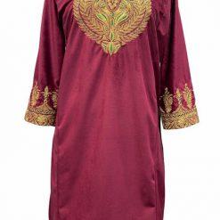 Red Velvet Tillawork Pheran
