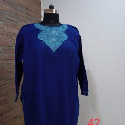 Royal Blue Pure Raffal Pheran in Sozni Hand Embroidery