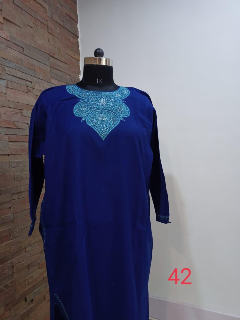 Royal Blue Pure Raffal Pheran in Sozni Hand Embroidery