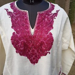 White Pure Raffal Pheran with Ari Hand Embroidery