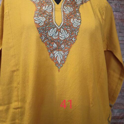 Yellow Pure Raffal Pheran in Sozni Hand Embroidery