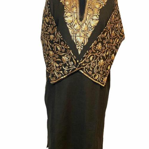 Black Wool Pheran with Extensive Tilla Work