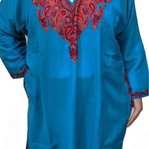 Blue Pure Wool Pheran With Hand Aari Embroidery