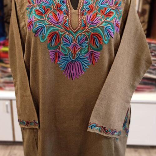 Brown Pure Wool Pheran With Naaldar Hand Aari Embroidery