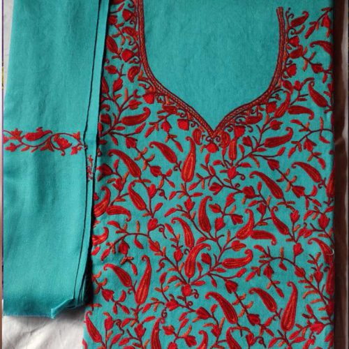 Ice Blue Poly Wool Suit With Ari Hand Work With Allover Design and Stole