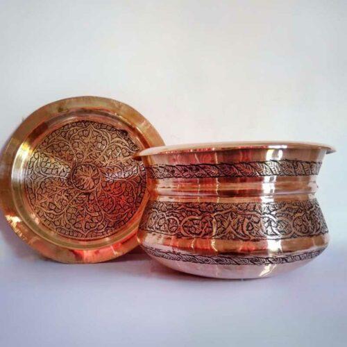 Engraved Copper Handi with Dakan