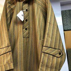 Golden Brown Self Stripe Pheran for Men