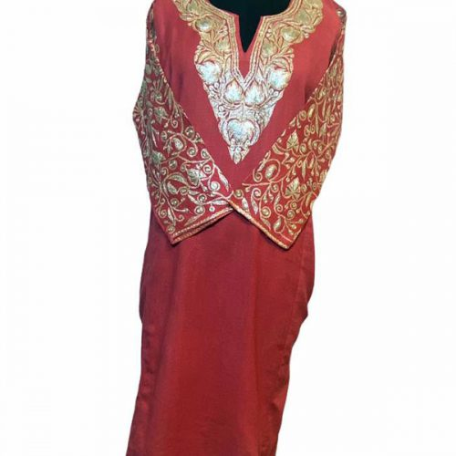 Pink Wool Pheran with Extensive Tilla Work