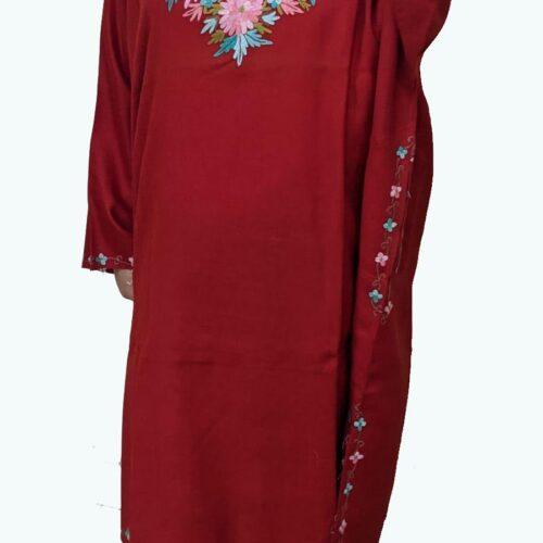 Red Pure Wool Pheran With Hand Aari Embroidery