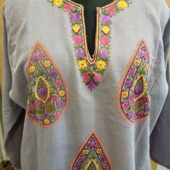 Grey Pure Wool Pheran With Hand Aari Embroidery