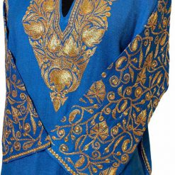 Blue Wool Pheran with Extensive Tilla Work