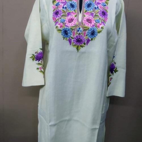 White Pure Wool Pheran With Flower Aari Hand Embroidery