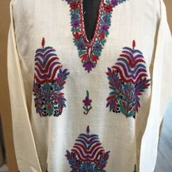 White Pure Wool Pheran With Butte Dar Hand Aari Embroidery