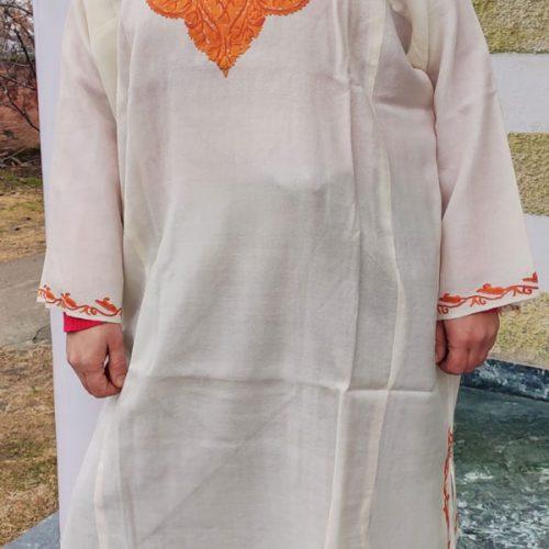 White Pure Wool Pheran With Brown Hand Aari Embroidery